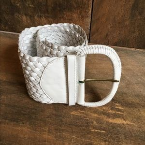 Wide White Leather Woven Belt
